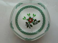 Perthshire 1996 Christmas Mistletoe Holly and Poinsettua Paperweight LE