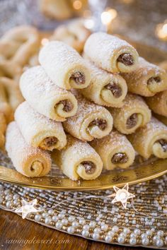 Roczki Cookies (Kolacky) are made with a tender, yeasted dough rolled up in a cigar shape with a simple, lemony, ground nut filling. Holiday Desserts, Holiday Baking, Christmas Baking, Holiday Recipes, Polish Christmas, German Christmas, Simple Christmas, Filled Cookies, Roll Cookies