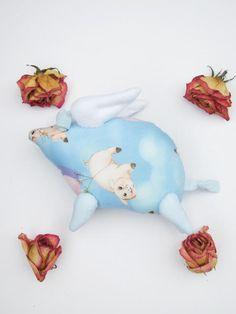 Flying pig softie stuffed animal toy plush by HappyDollsByLesya
