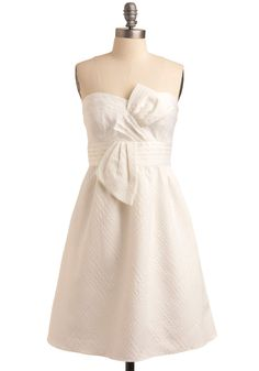 So Nice in White Dress by Max and Cleo - White, Solid, Bows, Cutout, Wedding, Party, Casual, A-line, Strapless, Spring, Summer, Long
