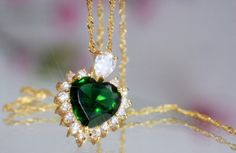 Green Heart Pendant - 18K yellow gold plated with created emerald and diamonds  $13.99  / £7.99 postage included
