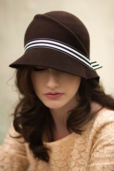Cloche Hat with Stripe Band in Brown Wool by MaggieMowbrayHats, £125.00