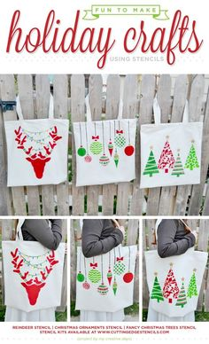 Cutting Edge Stencils shares DIY stenciled Holiday tote bags using stencils. http://www.cuttingedgestencils.com/accent-pillow-painted-tote-stencils.html