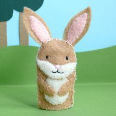 Rabbit - Wool Felt Finger Puppet
