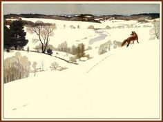 "- N.C. Wyeth's fox in winter ""Men of Concord"" endpaper illustration 1935"