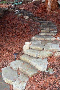 Coming across rock landscaping ideas backyard can be a bit hard but designing a rock garden is one of the most fun and creative forms of gardening there is. Large Backyard Landscaping, Landscaping With Rocks, Landscaping Tips, Fire Pit Using Bricks, Rock Steps, Flagstone Path, Garden Stairs, Stone Stairs, Landscape Fabric