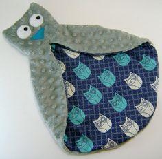 Grey and Blue Owl Security Blanket  Minky Lovie by finddailyjoy