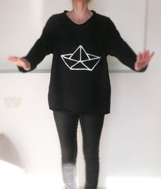 Black one size woman shirt 100% cotton hand by MyPoeticFactory