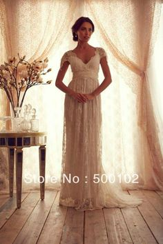 Anna Campbell Glamorous V Neck Beaded Cap Sleeve Empire Maternity Wedding Dresses from Reliable wedding lace dress supp...