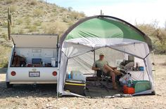 Our 10x10 side mount screen room tent by pahaque will keep you shaded and protected from the elements. Browse more trailer accessories from Teardrop Shop!