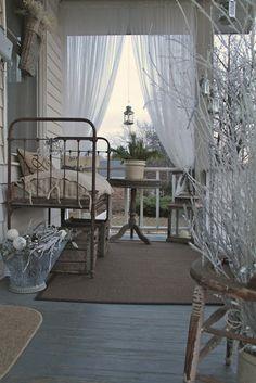 Winter porch From: Elizabeth House St. Louis, please visit Cottage Porch, Cottage Living, Cottage Style, Porche Chalet, Outdoor Rooms, Outdoor Living, Winter Porch, Cozy Winter, Porch And Balcony