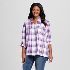 f4c114ac9ec0b Women s Plus Size Plaid Button Down Shirt - Como Black Plus Size Tops