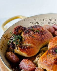Buttermilk Brined Cornish Hens elegant to serve for a dinner party and siimple enough for a weeknight dinner. The buttermilk brine keeps them moist! Turkey Recipes, Meat Recipes, Chicken Recipes, Dinner Recipes, Cooking Recipes, Radish Recipes, Recipe Chicken, Recipies, Cantaloupe Recipes