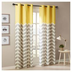 Yellow Curtains Intelligent Design Alex Chevron Printed Grommet Top Panel Pair How to Make Curtains {DIY Tri-colorblock Curtains Living, Room Darkening Curtains, Drapes Curtains, Modern Curtains, Valances, Grey Lined Curtains, Baby Room Curtains, Velvet Curtains, Grommet Curtains