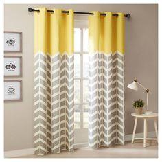 Elaine Chevron Printed Grommet Top Curtain Panel Pair. Image 1 of 2.