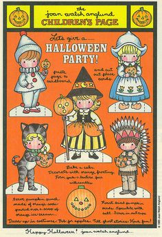 Joan Walsh Anglund Halloween paper doll craft page