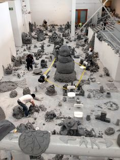 """This past week artist Urs Fischer needed help making clay objects for his upcoming April 21 through August 19 MOCA show. The happening circulated around online all week and we were very intrigued by the idea of doing an all day clay play with Urs Fischer, featuring a catered lunch with his personal chef."" (MOCA) (via laiamyours)"