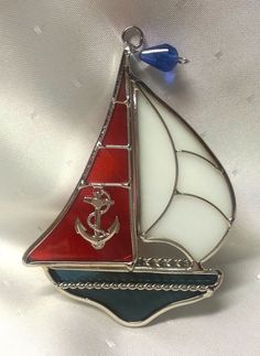 Stained Glass Red White and Blue Sailboat Suncatcher