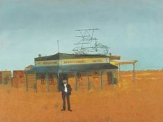 Sidney Nolan - Agricultural Hotel, I like the sparseness and the colour of his work, and the people (where there are any), who always seem very alone within the landscape. Australian Painting, Australian Artists, Modern Art Artists, Sidney Nolan, Victoria Art, Pacific Rim, Art Images, Landscape Paintings, Asia