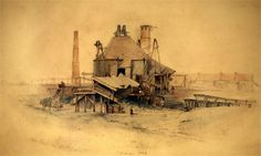 Thomas Hair - Jubilee Pit, Coxlodge / Hespecialised in paintings of the coal mines of North East England. Many of his paintings are held by the Hatton Gallery in Newcastle. Coal Mining, Imagines, Historical Pictures, Old West, Newcastle, Urban Art, Watercolour, History, Gallery