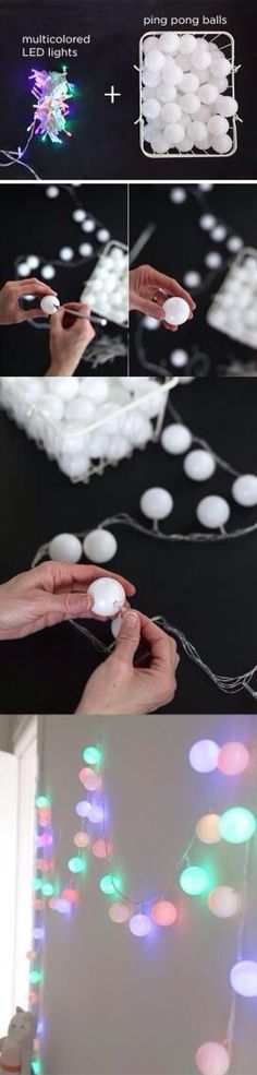 Ping pong balls over Christmas lights