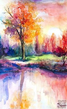 Colorful Autumn trees painting. EASY-WATERCOLOR-PAINTING-IDEAS-FOR-BEGINNERS