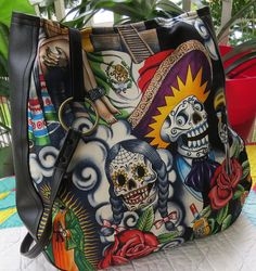 Hey, I found this really awesome Etsy listing at https://www.etsy.com/listing/118560677/sugar-skull-purse-over-the-shoulder