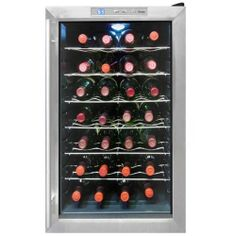 Vinotemp VT-28TEDS Bottle Thermoelectric Wine Cooler by Vinotemp. $369.99. Finish:Stainless/Black Because of the Eco Series 28 Bottle Thermoelectric Wine Cooler's thermo-electric cooling system, which involves very few moving parts, your wine will be protected from unnecessary vibration.   Attractive free-standing cellar with dual-paned glass door  Thermoelectric cooling technology  Soft, interior blue lighting  Ultra-quiet, energy-efficient operation  Digital ...