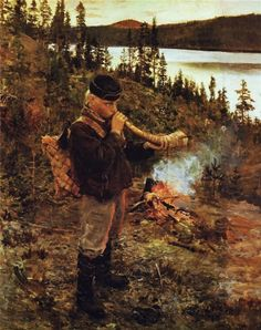 Akseli Gallen-Kallela aprilie 1865 - 7 martie pictor şi grafician finlandez - Shepherd Boy from Paanajärvi, 1892 Scandinavian Paintings, Scandinavian Art, Nordic Art, Love Painting, Figure Painting, Russian Painting, Donia, European Paintings, Great Paintings