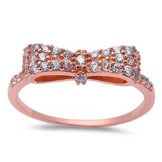 Cute Ribbon Bow Ring Rose Gold over 925 Sterling Silver 0.20 Carat Round pave Russian Ice Diamond Brilliant CZ Ribbon Bow Ring Trendy Gift