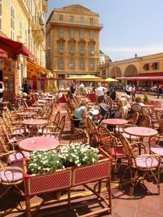 Nice , France.  This is what I remember most about Nice - all the sidewalk cafes.