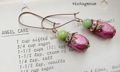 balihot pink beads green beads earrings dangle drop OOAK by Arey, $9.00