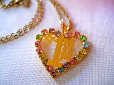 vtg 1970s / Rhinestone Heart Necklace / Number One by luvmetwice, $12.50