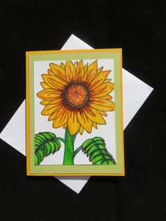 Sunflower greeting card hand drawn note card by MitchiesGalleria