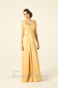 Create a memorable evening by wearing the Destiny Mustard evening dress by Tania Olsen! A simple but stunning full length evening gown with a thigh high split!