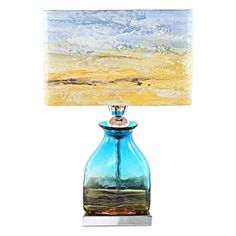 Great River of Goods in Impressionist Handpainted Shade Table Lamp Blue Yellow S