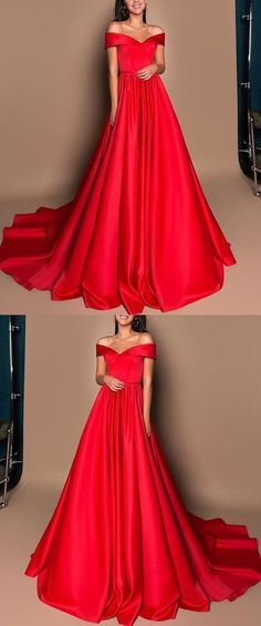 Gorgeous Ball Gown Off the Shoulder Red Satin Long Prom Dresses with Train ab4c451640fe