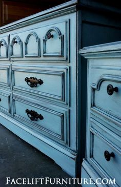 Dresser & Nightstand in distressed Robin's Egg Blue with Black Glaze. From Facelift Furniture's Robin's Egg Blue Furniture collection. Robins Egg Blue, Shabby Chic Dresser, Blue Dresser, Refinishing Furniture, Furniture, Dresser As Nightstand, Repurposed Furniture, Shabby Chic Furniture, Shabby Chic