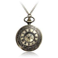Bronze Roman Numerals/Retro Steampunk Style/Pendant Chain watch #Steampunk