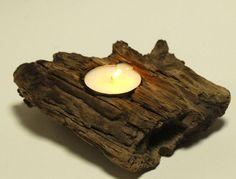 Single Tea Light Driftwood Candle Holder, Coastal Cottage, Rustic Beach Wedding Decor, Natural Drift Wood Table Decoration  | followpics.co