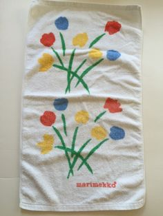 Vintage MARIMEKKO Hand, Guest Towel | Tulip Pattern Terry Cloth | Fujiwo Ishimoto by BROCANTEBedStuy on Etsy