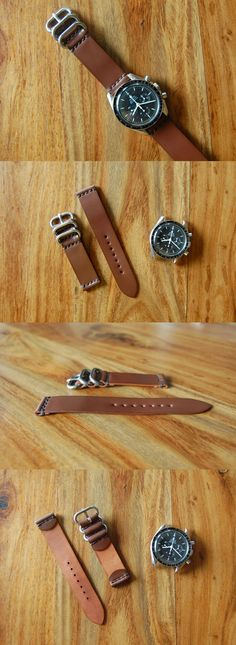 Wristwatch Bands 98624: Handmade Brown Shell Cordovan Leather Watch Strap Band 20Mm Vintage Military Usa -> BUY IT NOW ONLY: $36.5 on eBay!