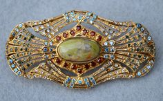 Multi Stone Vintage Brooch by HighClassHighway on Etsy