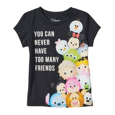 """Disney's Tsum Tsum Girls 4-6x """"You Can Never Have Too Many Friends"""" Tee, Girl's, Size:"""