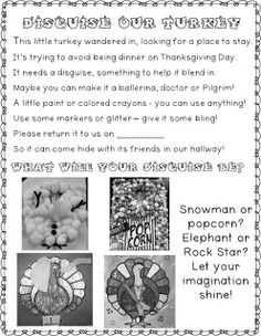 FREEBIE! Disguise A Turkey Homework Project