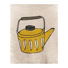 Print - Teapot Illustration quirky doodle. $15.00, via Etsy.