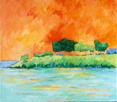 Contemporary Painting - Island Sunset (Original Art from elsieharris.artspan.com)