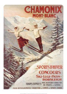 Vintage travel poster - France - Chamonix - Winter Sports