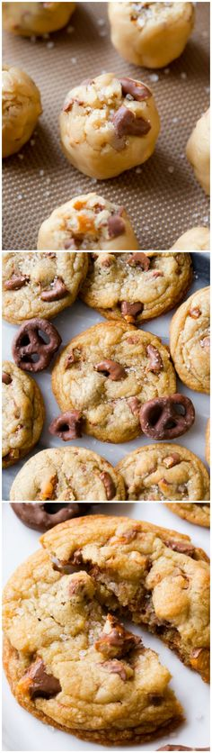 Tips and tricks for CHEWY chocolate chip cookies. Use crunchy chocolate covered pretzels for the ultimate texture and flavor! No mixer required!!!