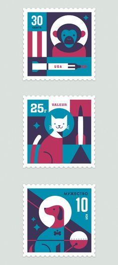 Space Animal Stamp Series  by Eric R. Mortensen
